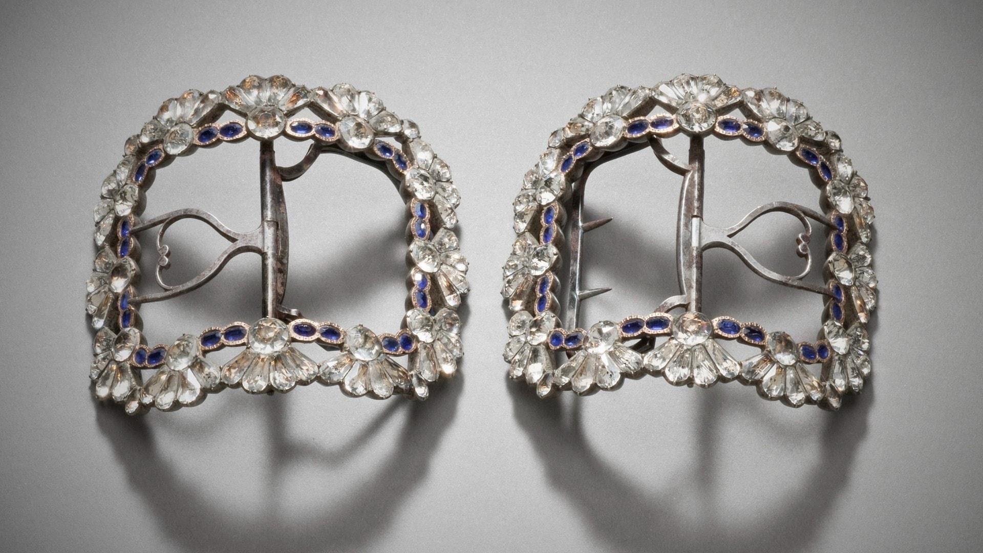 woman silver shoe buckles